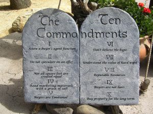 Passing Along the Ten Commandments from a Buyer's Broker