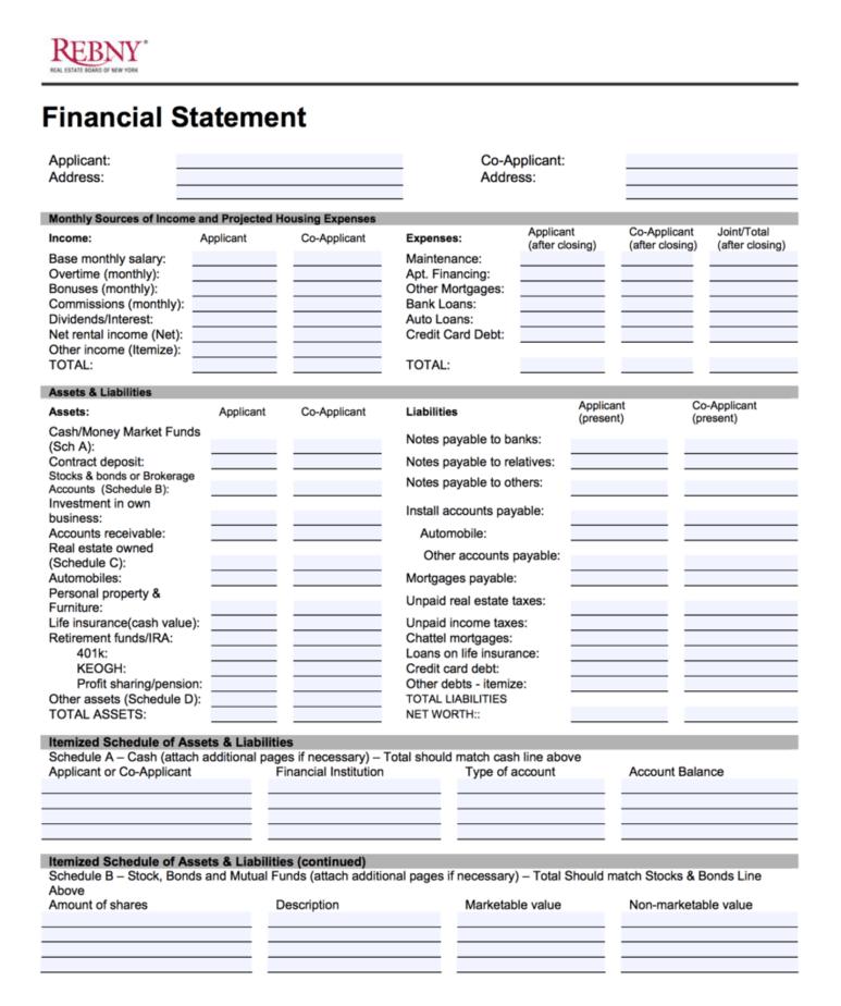 REBNY Financial Statement Form: How to Prepare