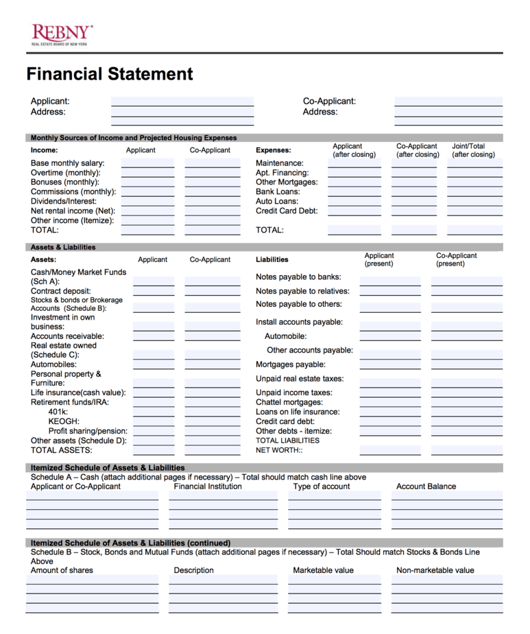 REBNY Financial Statement Form: How to Prepare