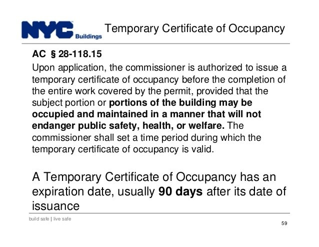 Temporary Certificate of Occupancy